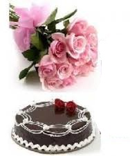 1/2 kg chocolate cake and 12 pink roses bunch