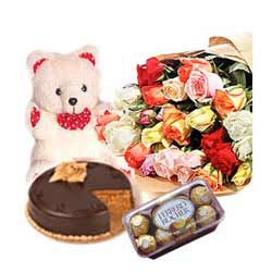 50 Roses,1/2 kg Lip smacking Chocolate Cake, 200gms Ferrero Rocher with Teddy