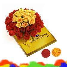 bouquet of 10 mixed color roses and assorted chocolates  and a card