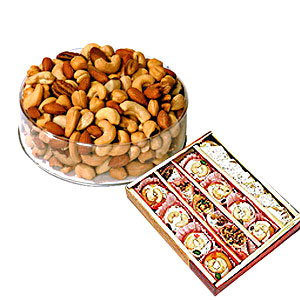 1/2 Kg Dry Fruits with 1/2 Kg sweets