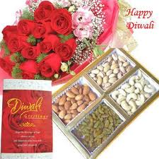 500 gm mixed dry fruits box and bunch of 10 mixed color roses along with roli and tikka