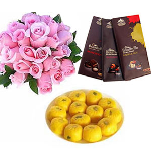 1/2kg kesar peda with 12 pink roses and 3 Bourneville