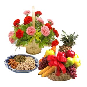 Dry fruits flowers basket with fresh fruits