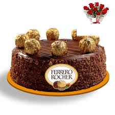 2 kg ferrero rocher eggless cake with 5 roses