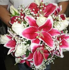Pink Lilies and roses bouquet