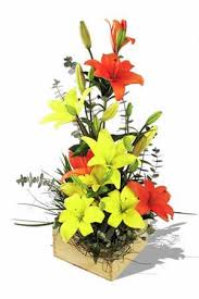 yellow, orange lilies basket arrangement
