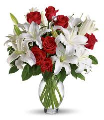 White Lilies red Roses