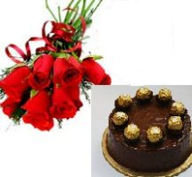 1/2 kg ferrero rocher eggless cake with 6 roses