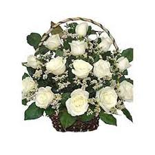 15 white roses arrangement