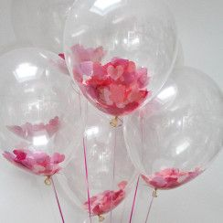 4 Balloons with Pink petals inside transparent balloon with Pink and white Wrapping