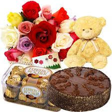 Flowers,1/2 kg Cake, Chocolates with Teddy