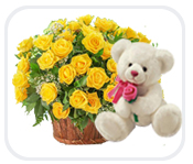 18 yellow roses in a basket with a teddy