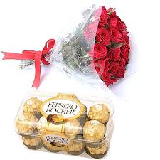 6 fresh red roses, 16 pieces Ferrero Rocher chocolate