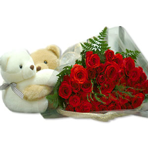2 Teddies with 12 red roses hand tied bouquet
