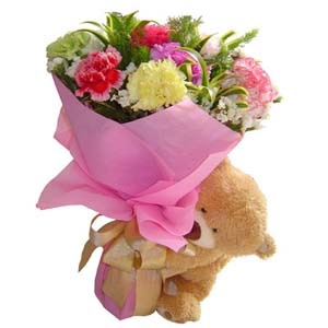 Carnations with teddy bear