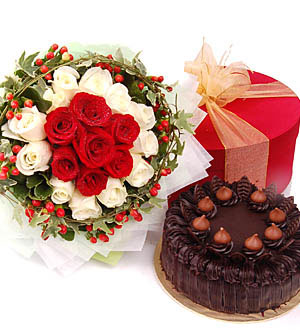 24 red & white roses bouquet and 1/2 kg chocolate cake.