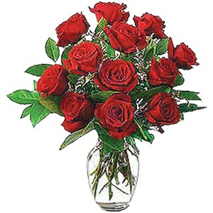 12 red roses in a vase.