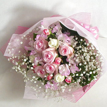 24 pink white roses bouquet.