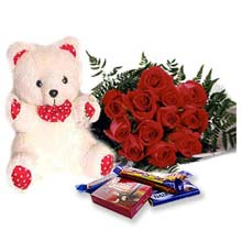 Bouquet  +teddy+chocolates.