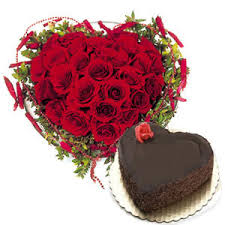 24 roses Heart with heart shaped chocolate cake 1 kg.