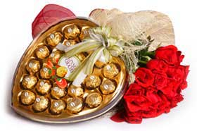 6 roses with heart shaped chocolate  box