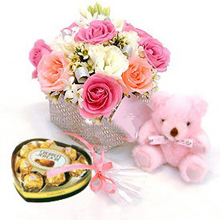 Flowers+ teddy+chocolates