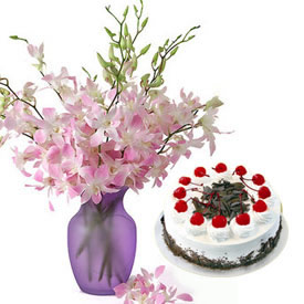 Orchids in glass vase and 1 kg cake