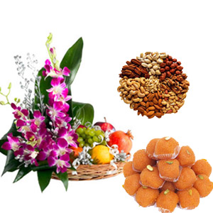 Fresh fruits, dryfruit, indian sweets.