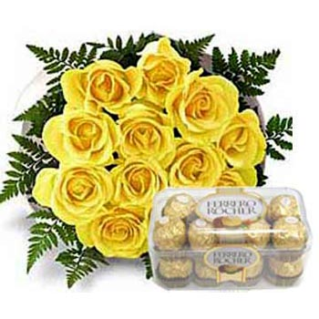 16 pc ferrero rocher with 12 yellow roses bouquet