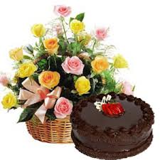 Flowers basket with 1/2 Kg Chocolate Cake and a Diwali Greeting Card