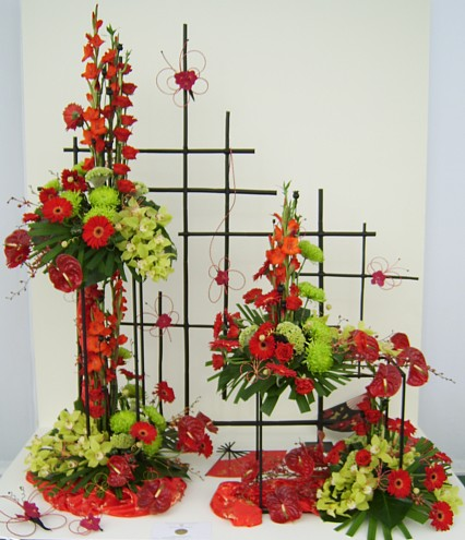 Large arrangement on bamboo mesh