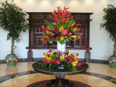 Arrangement with Bird of Paradise, Orchids, Anthuriums 4 feet