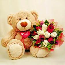 1 feet teddy with 12 roses bouquet