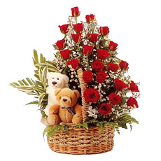 2 teddies 24 red roses basket.