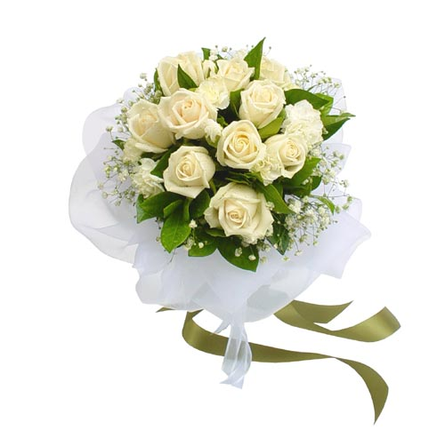 12 white roses in a bouquet.