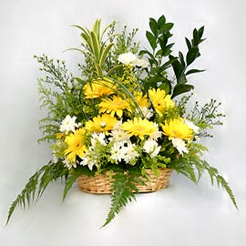 Yellow gerberas roses basket.