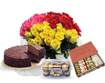 1 pound Cake 20 flowers 500 gm sweets with chocolates