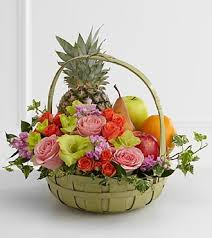 3 fruit and 15 flowers basket