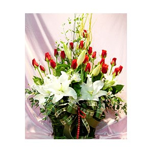 White Lilies red Roses basket.