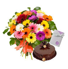30 mix gerberas with 1 kg cake