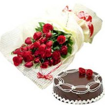1 pound delicious black forest Cake with 12 Lovely Dutch Roses