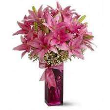 Pink Lilies in a vase.
