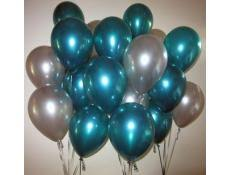 20 Gas filled green silver Balloons tied to ribbons