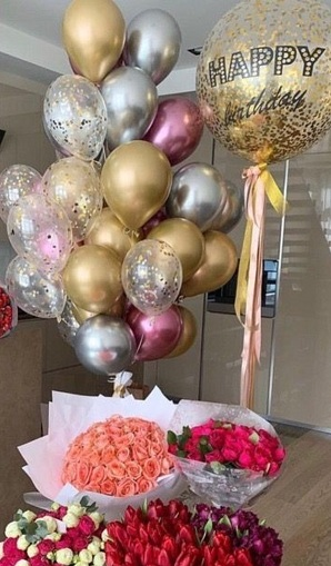 1 bubble confetti balloon with happy birthday print 4 bouquets of flowers 20 gold silver pink confetti helium balloons