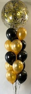 10 Gas filled gold black Balloons with large air bobo balloons on top tied to ribbons