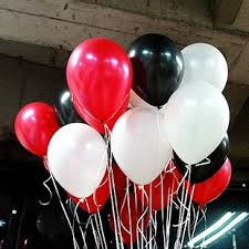 15 Gas filled red and white black Balloons tied to ribbons