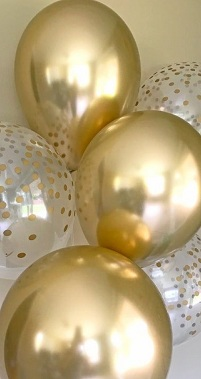 10 Gas filled gold and gold confetti Balloons tied to ribbons