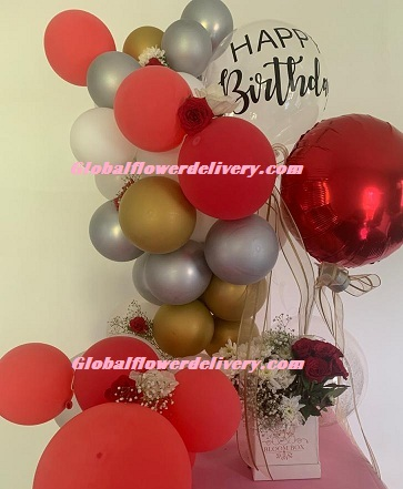 Custom made happy birthday metallic balloons red gold silver with box of flowers