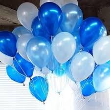 15 Gas filled blue white Balloons tied to ribbons