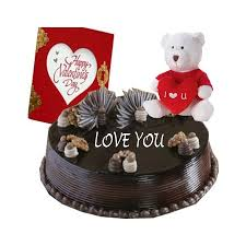 1/2 kg chocolate cake icing i love you with teddy and card